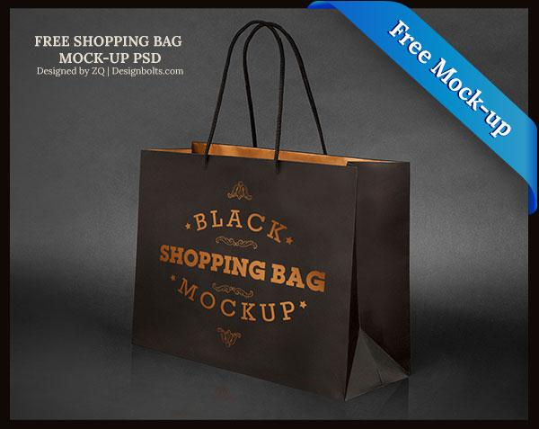 Free Black Shopping Bag Mock-up PSD File (Custom)