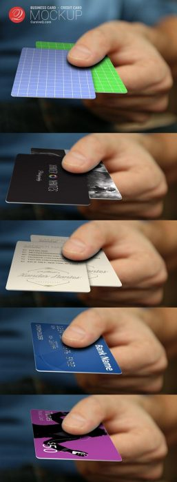 Free Business Card, Credit Card, Hand Mockup (Custom)