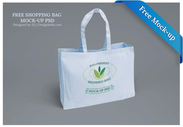 Free Eco-Friendly Blue Shopping Bag Mock-up PSD (Custom)