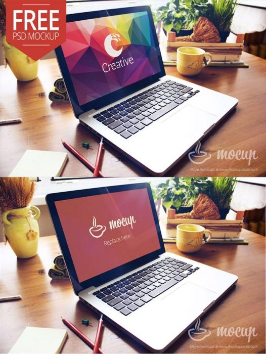 Free Macbook PSD Mockup Creative (Custom)