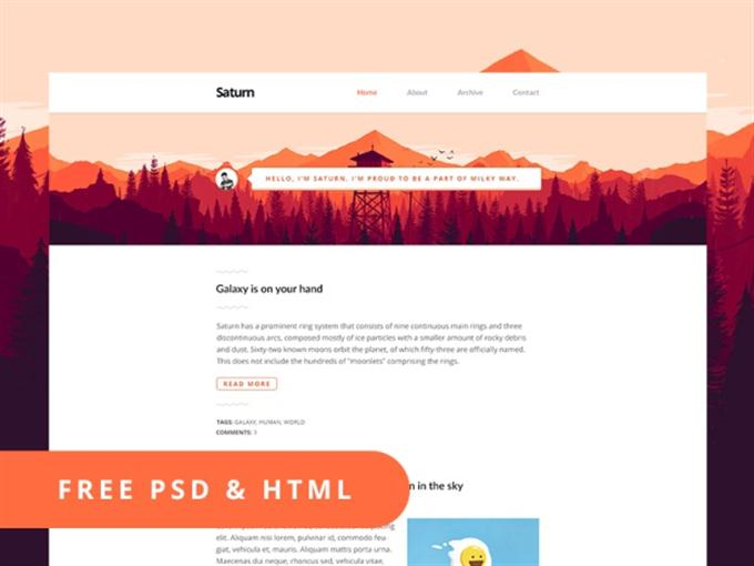 Free PSD+HTML Template — Saturn (Custom)