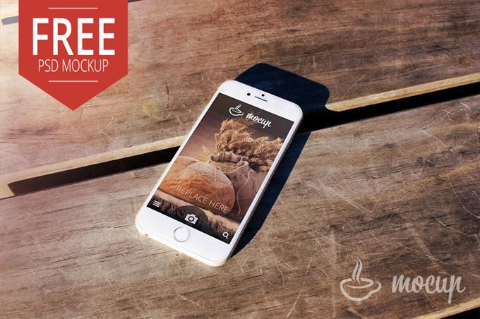 Free PSD iPhone 6 Mockup Desk (Custom)