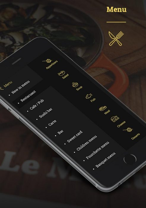 Free Restaurant Mobile App PSD Template (Custom)