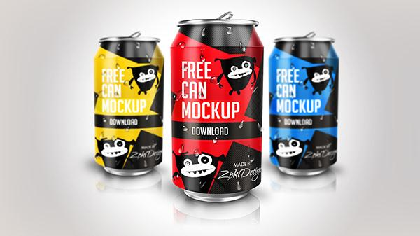 Free Soda Can Mock-Up (Custom)