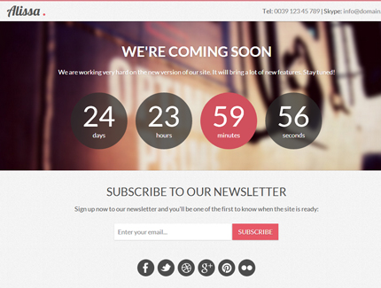 Free Template Alissa Responsive Bootstrap Coming Soon Page
