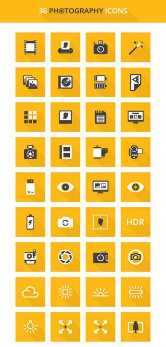 Free Vector Icons for Photography (Custom)