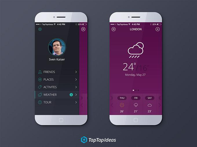 Free Weather App PSD (Custom)