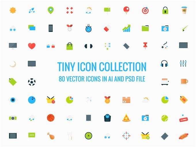 Freebie – 80 Tiny Vector Icons (Custom)