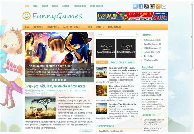 FunnyGames Blog Template  (Custom)