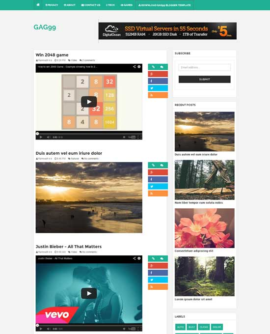 GAG99 Galley and Video Blogger Template