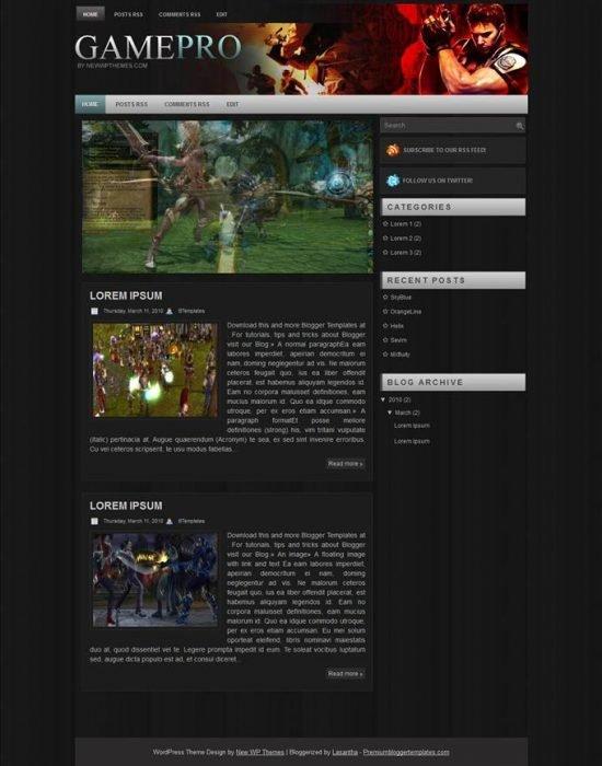 Game Pro Blogger Template (Custom)