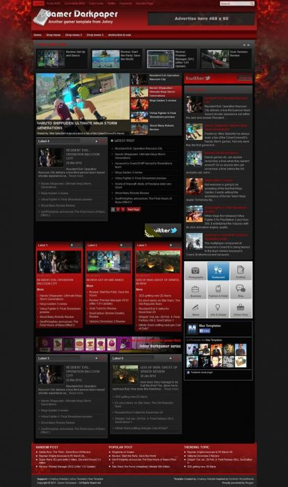 Gamer Darkpaper Blogger Template (Custom)