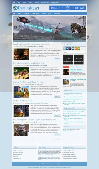 GamingNews Blogger Template (Custom)