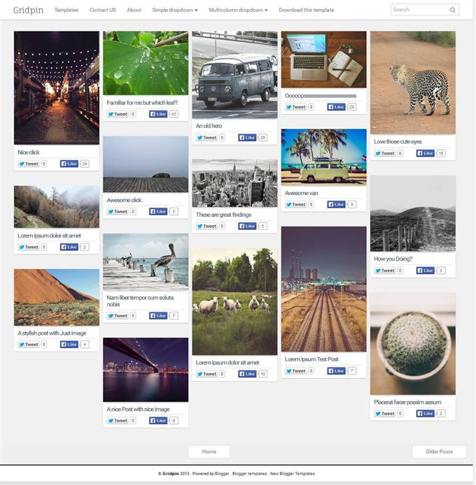 Grid Pin  Photography Free Blogger Template (Custom)