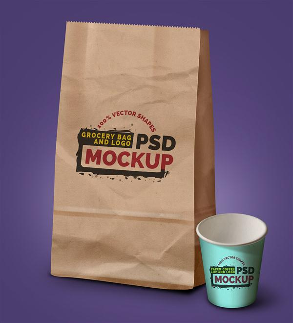 Grocery Bag, Coffee Cup & Logo PSD Mockup (Custom)