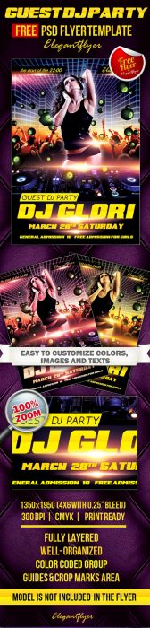 Guest Dj Party 3 – Club and Party Free Flyer PSD Template (Custom)