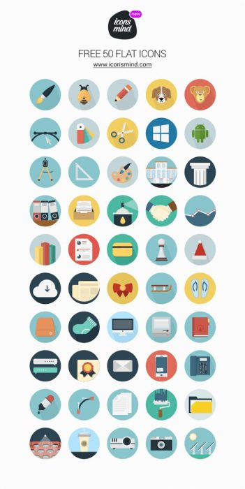 Icons Mind – 50 Flat Icons (Custom)