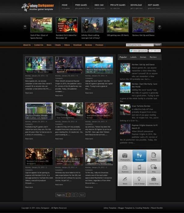 Johny Darkgamer Blogger Template (Custom)