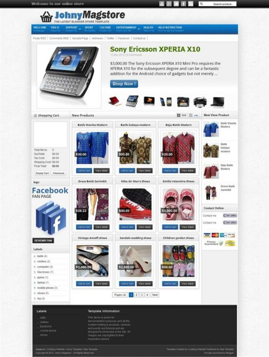 Johny Magstore Responsive e-shopping Blogger Template (Custom)