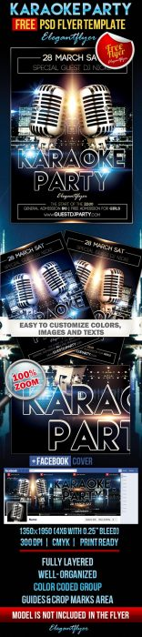 Karaoke Party – Free Flyer PSD Template + Facebook Cover (Custom)