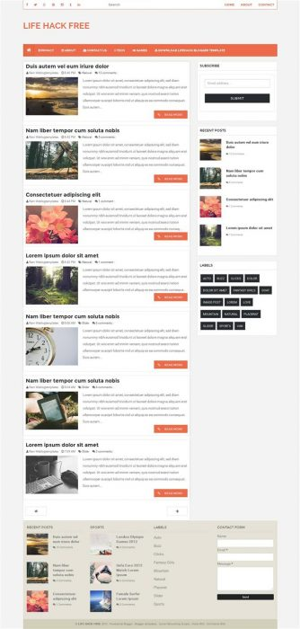 LifeHack Responsive Personal Blog Blogger Template (Custom)