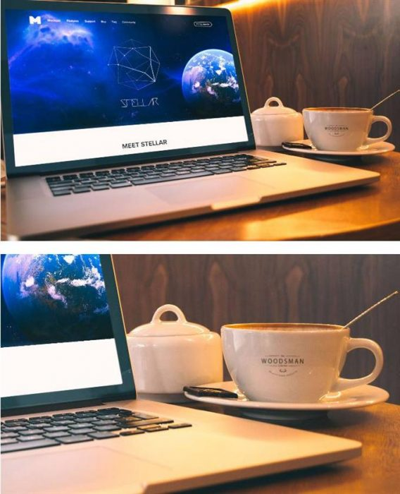 MACBOOK PRO AND COFFEE CUP MOCKUP (Custom)