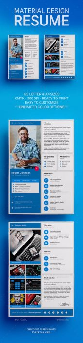 MaDe - Material Design Resume   CV Template (Custom)