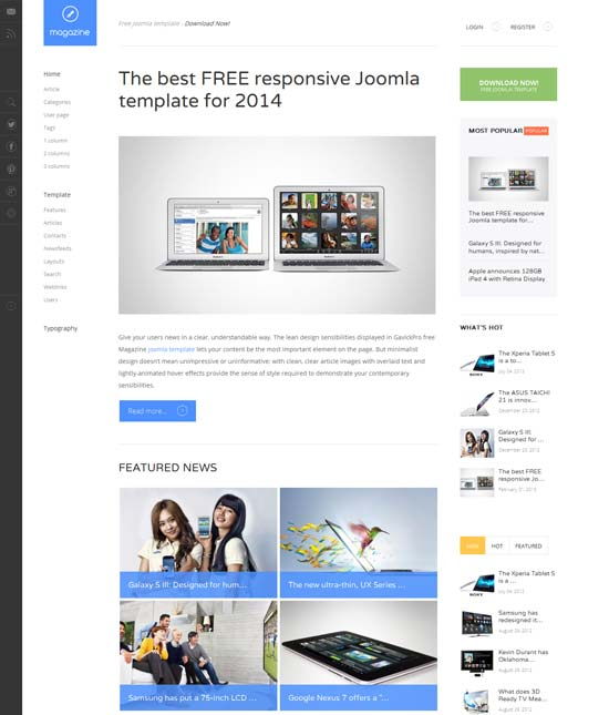Magazine Free Blog Joomla Template
