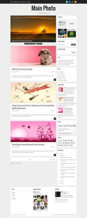Main Photo Responsive Blogger Template  (Custom)