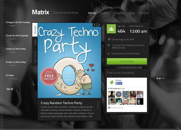 Matrix - Event Guest List WordPress Theme (Custom)