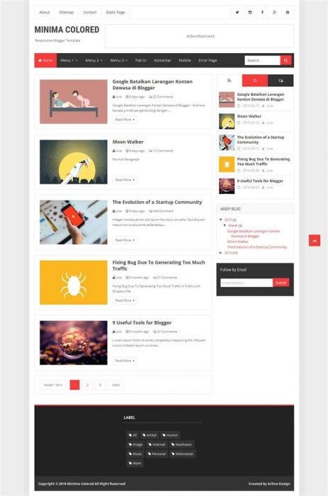 Minima Colored Responsive Personal Blog Blogger Template (Custom)