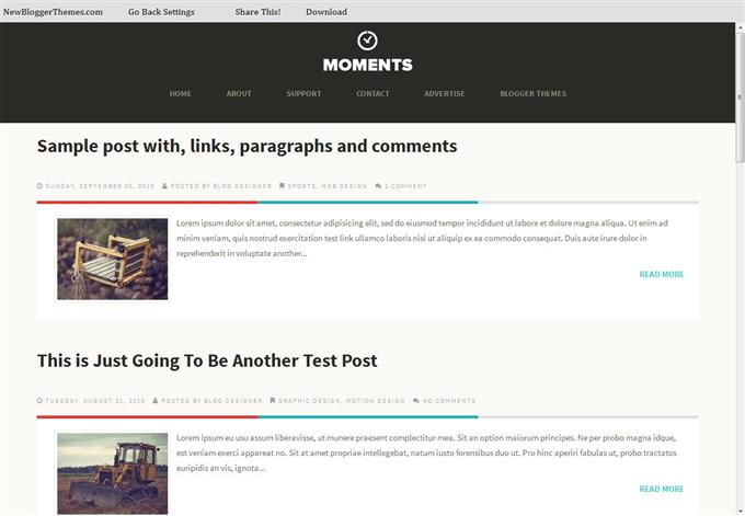 Moments Responsive Personal Blog Blogger Template (Custom)