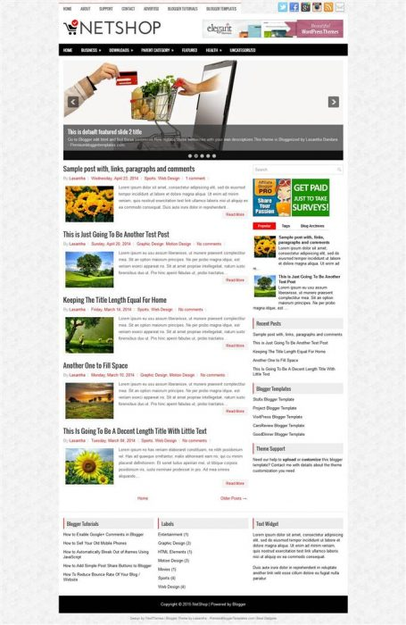 NetShop Blogger Template (Custom)