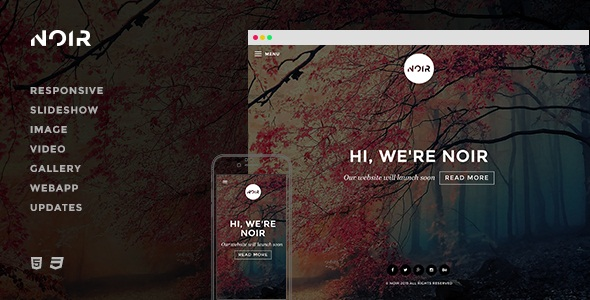 Noir  Responsive Coming Soon Template
