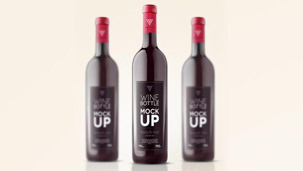 PSD Wine Bottle Mockup Template (Custom)