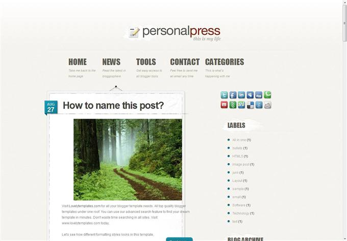 Personal Press Blogger Template (Custom)