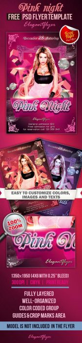 Pink Night – Club and Party Free Flyer PSD Template (Custom)