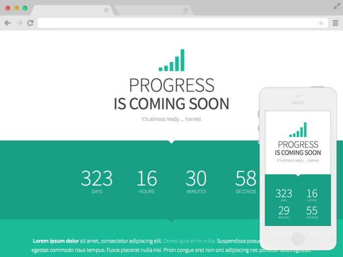 Progress responsive coming soon template