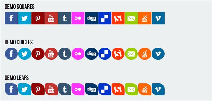 Pure CSS3 Responsive Social Media Flat Icons (Custom)