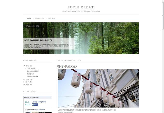 Putih Pekat Blogger Template (Custom)