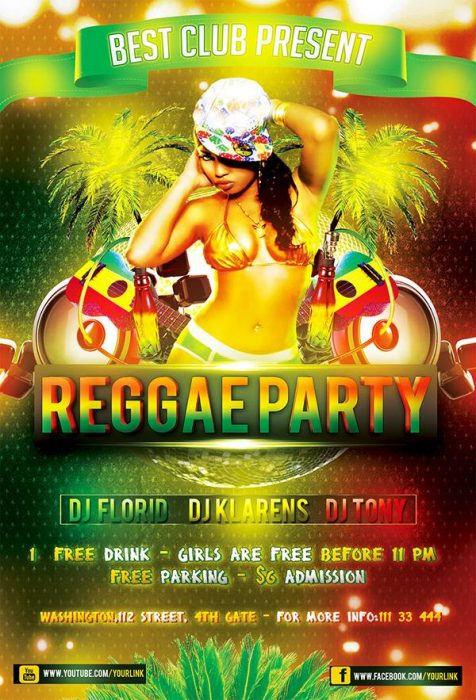 Reggae Party Free PSD Flyer Template (Custom)