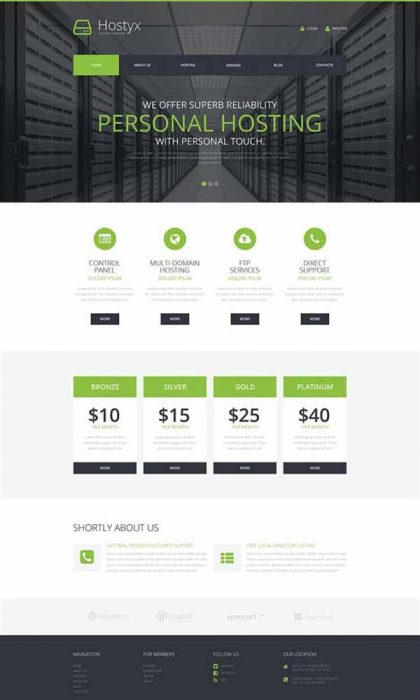 Reliable Hosting Company WordPress Theme (Custom)