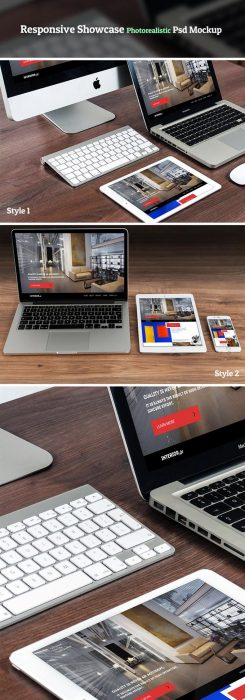 Responsive Showcase Photorealistic Psd Mockup (Custom)