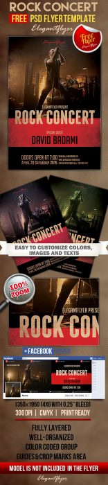 Rock concert – Free Flyer PSD Template + Facebook Cover (Custom)