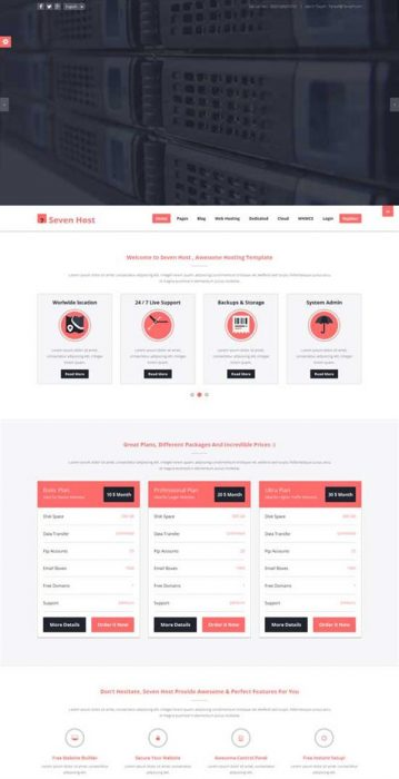 Seven Host - Hosting WordPress Theme (Custom)