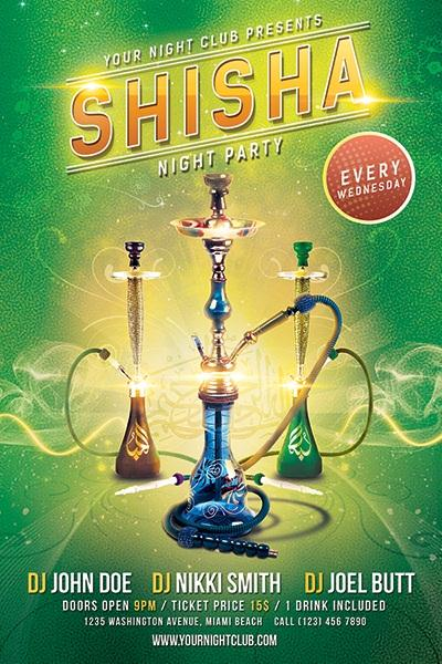 Shisha Party Flyer Free PSD Template (Custom)