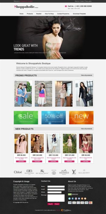 Shopaholic Boutique Responsive e-shopping Blogger Template (Custom)