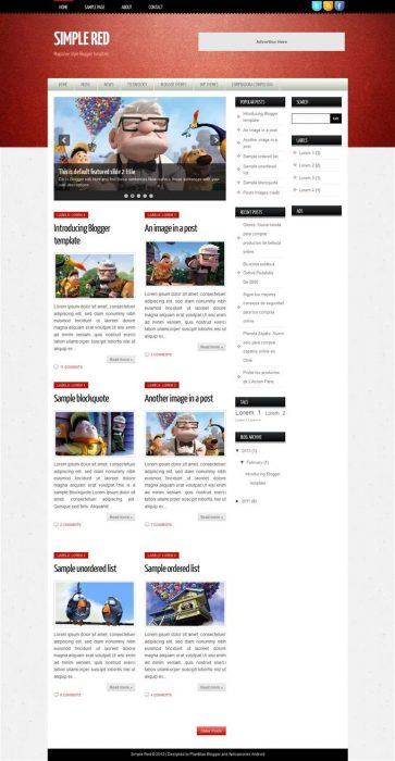 Simple Red Responsive Personal Blog Blogger Template (Custom)