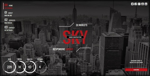 Sky  Responsive Coming Soon Page
