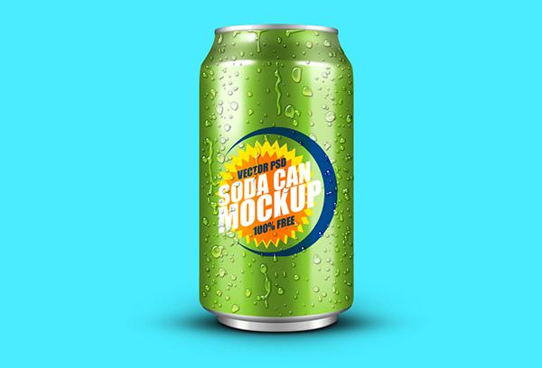 Soft Drink Can PSD Mockup (Custom)